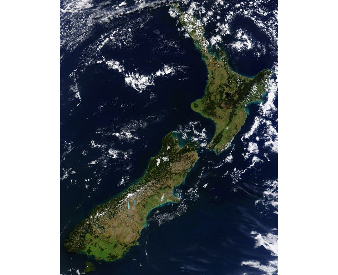 Large detailed satellite image of New Zealand