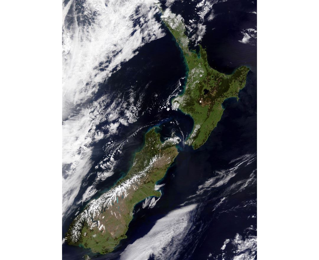 Large detailed satellite map of New Zealand