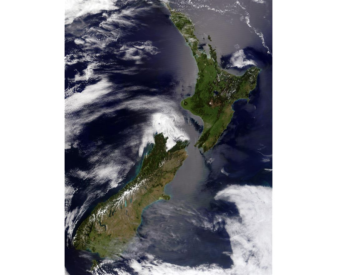 Large detailed satellite photo of New Zealand