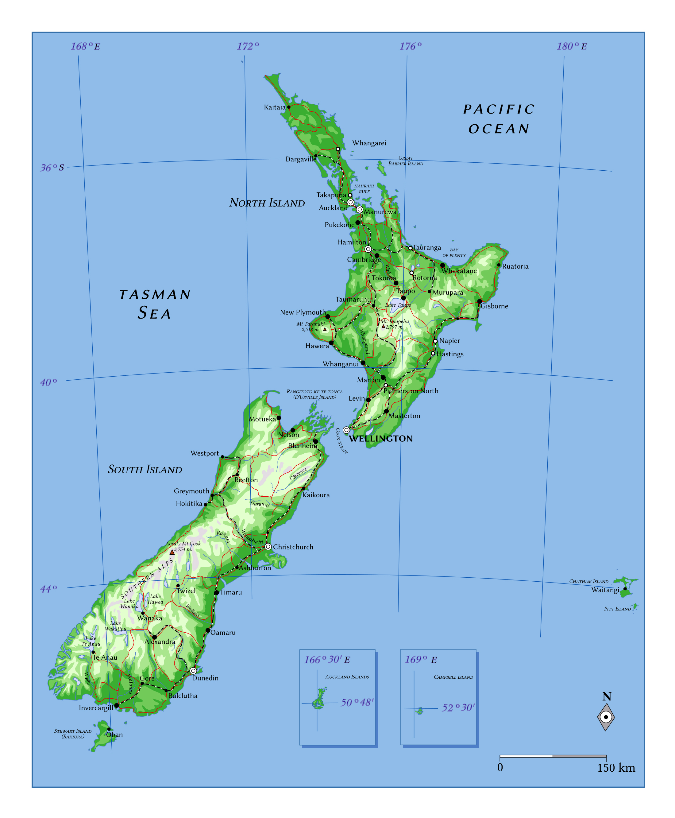 Large elevation map of New Zealand with roads, railroads and cities ...