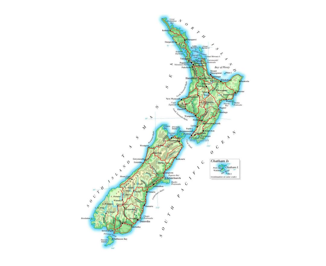 Large elevation map of New Zealand with roads, railroads, cities and airports