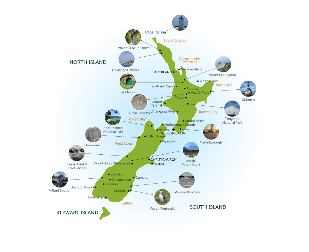Large highlights map of New Zealand