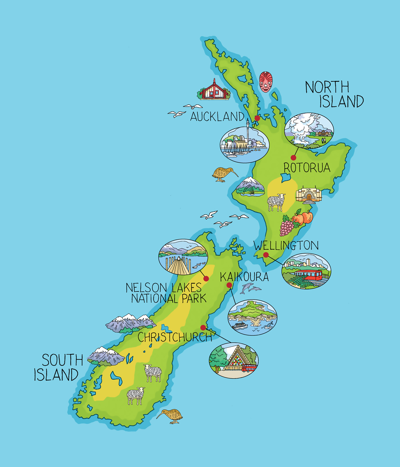 New Zealand North Map.Large Illustrated Map Of New Zealand New Zealand Oceania