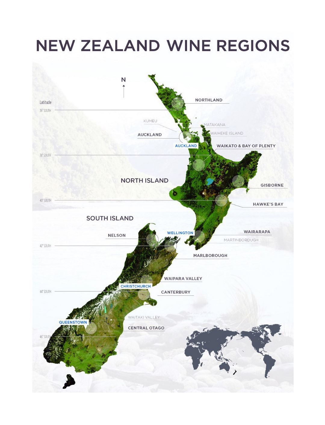 Large map of New Zealand wine regions