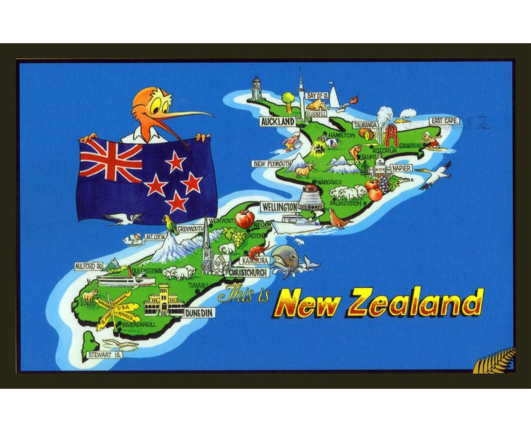 Large New Zealand illustrated map and flag