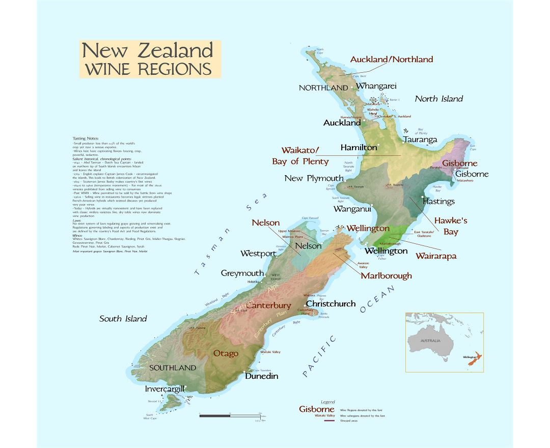 Large New Zealand wine regions map