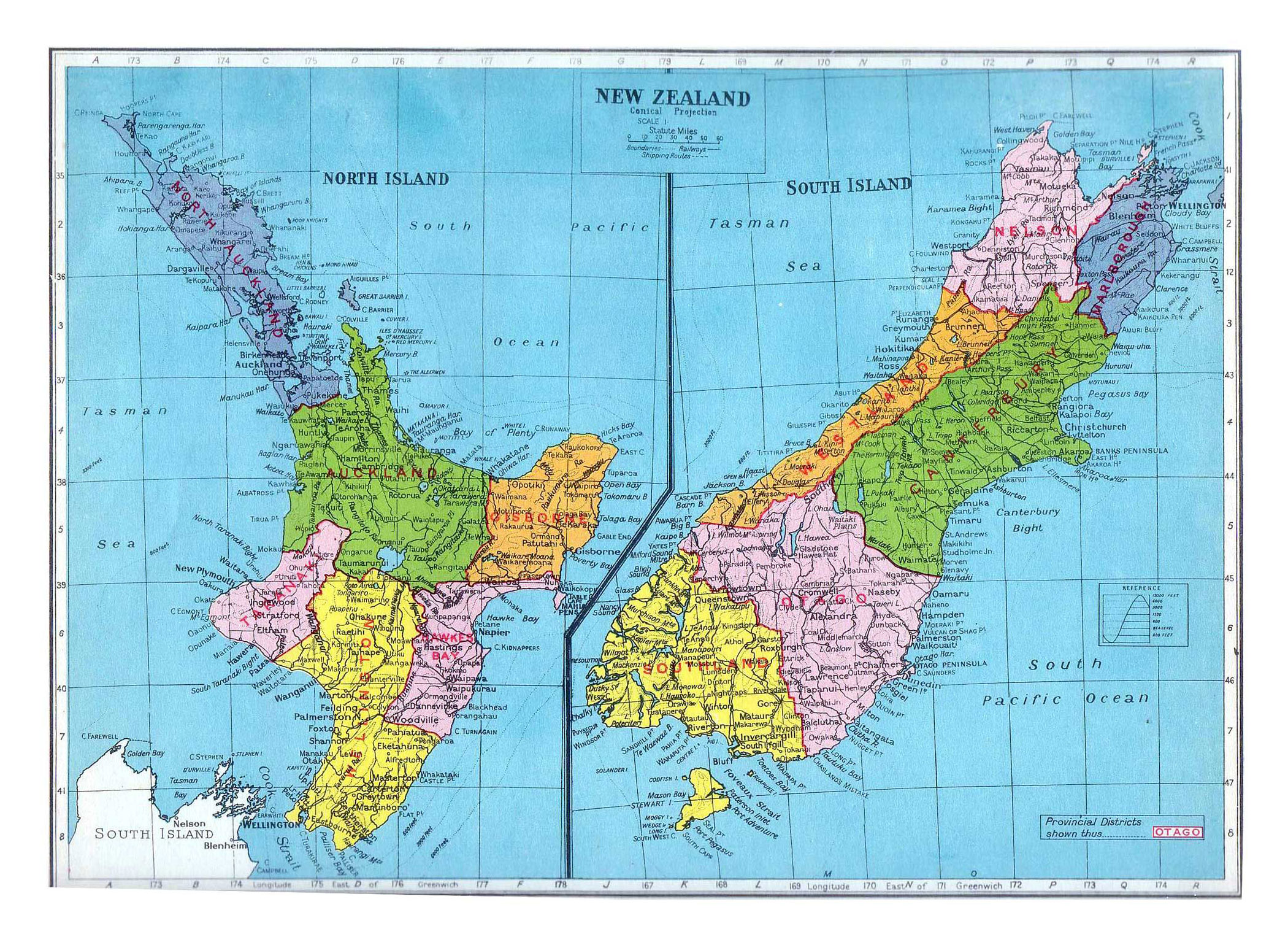 Large old political and administrative map of New Zealand - 1949 ...
