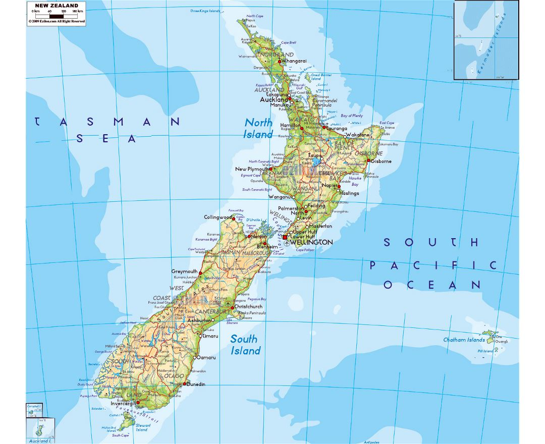 Large physical map of New Zealand with roads, cities and airports
