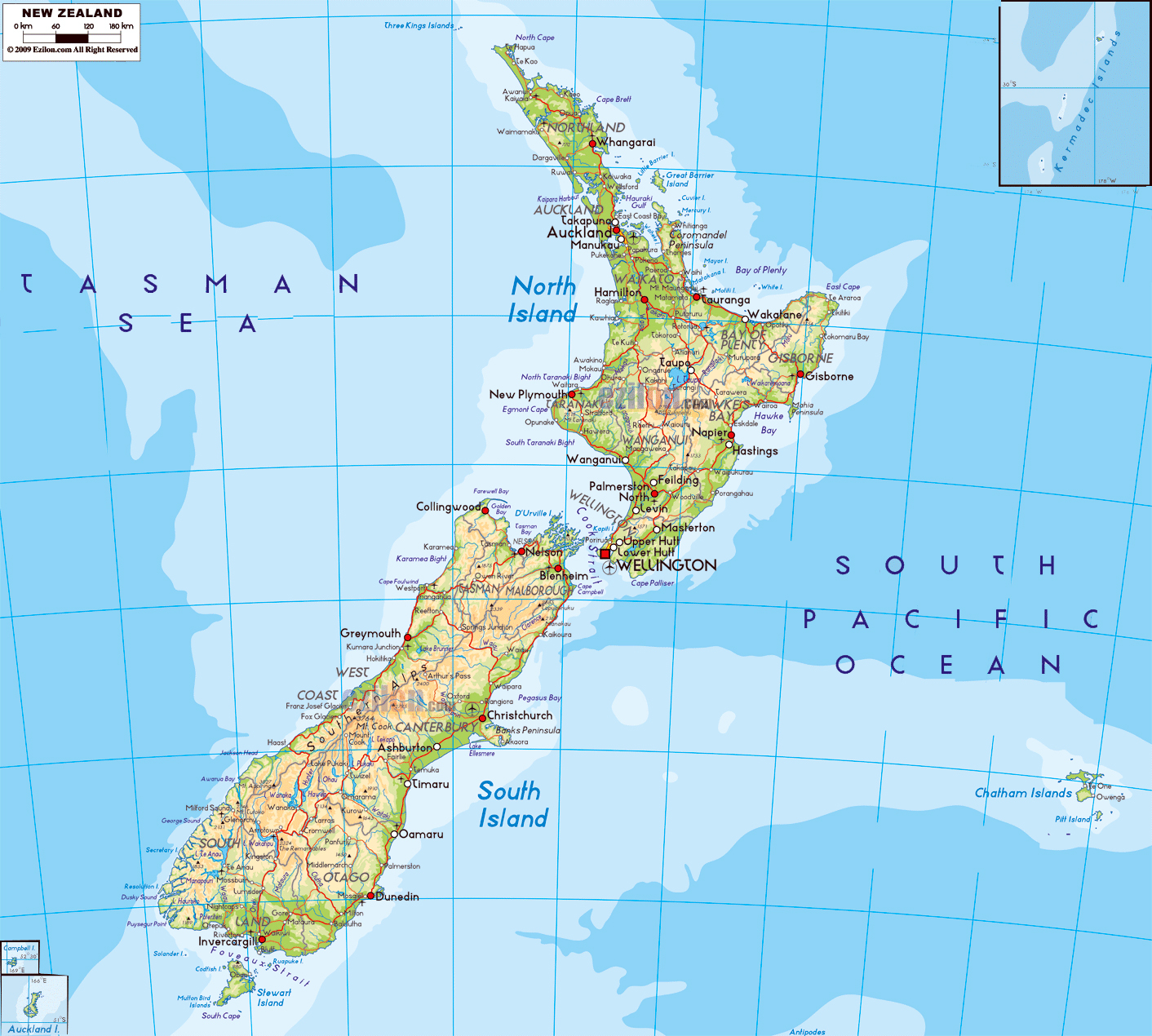 Map Of New Zealand With Cities.Large Physical Map Of New Zealand With Roads Cities And Airports