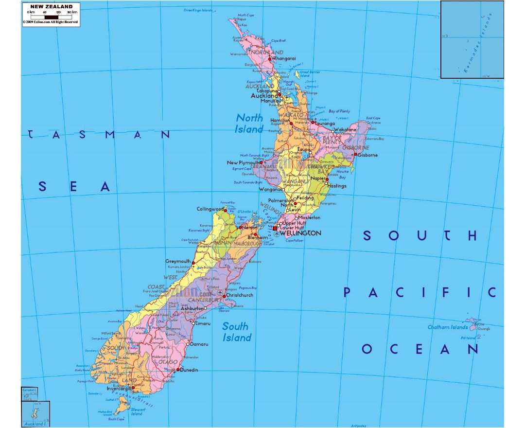 Large political and administrative map of New Zealand with roads, cities and airports