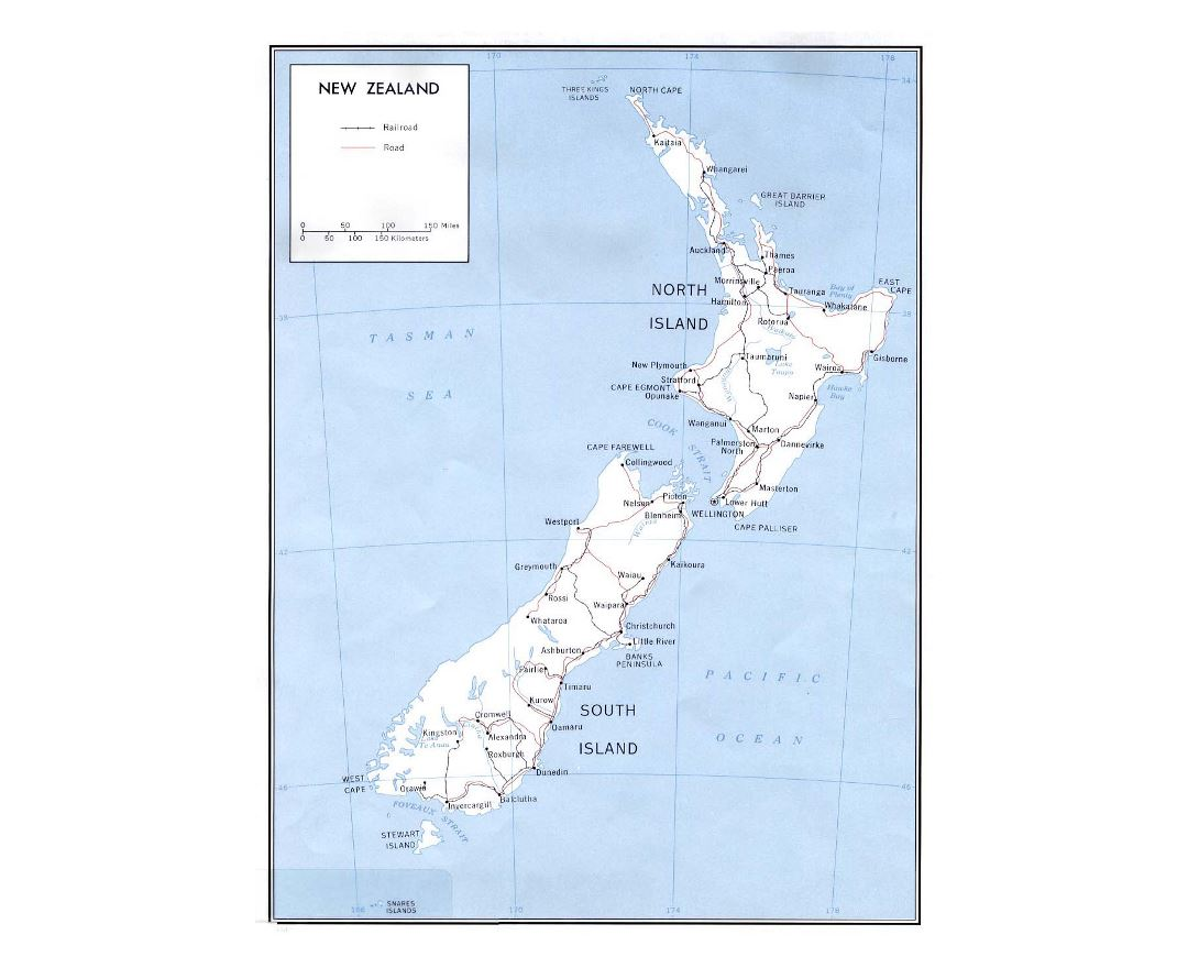 Large political map of New Zealand with marks of roads, railroads and cities - 1970