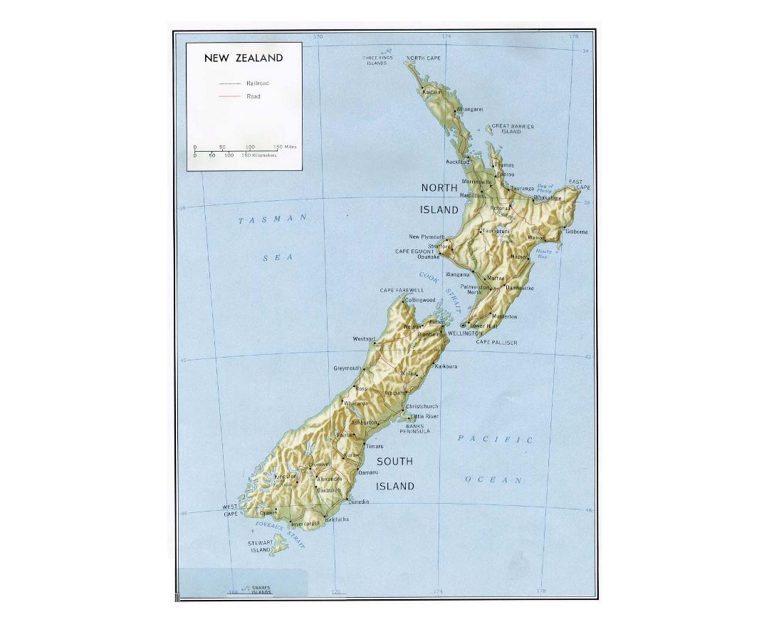 Large political map of New Zealand with relief, marks of roads, railroads and cities - 1981