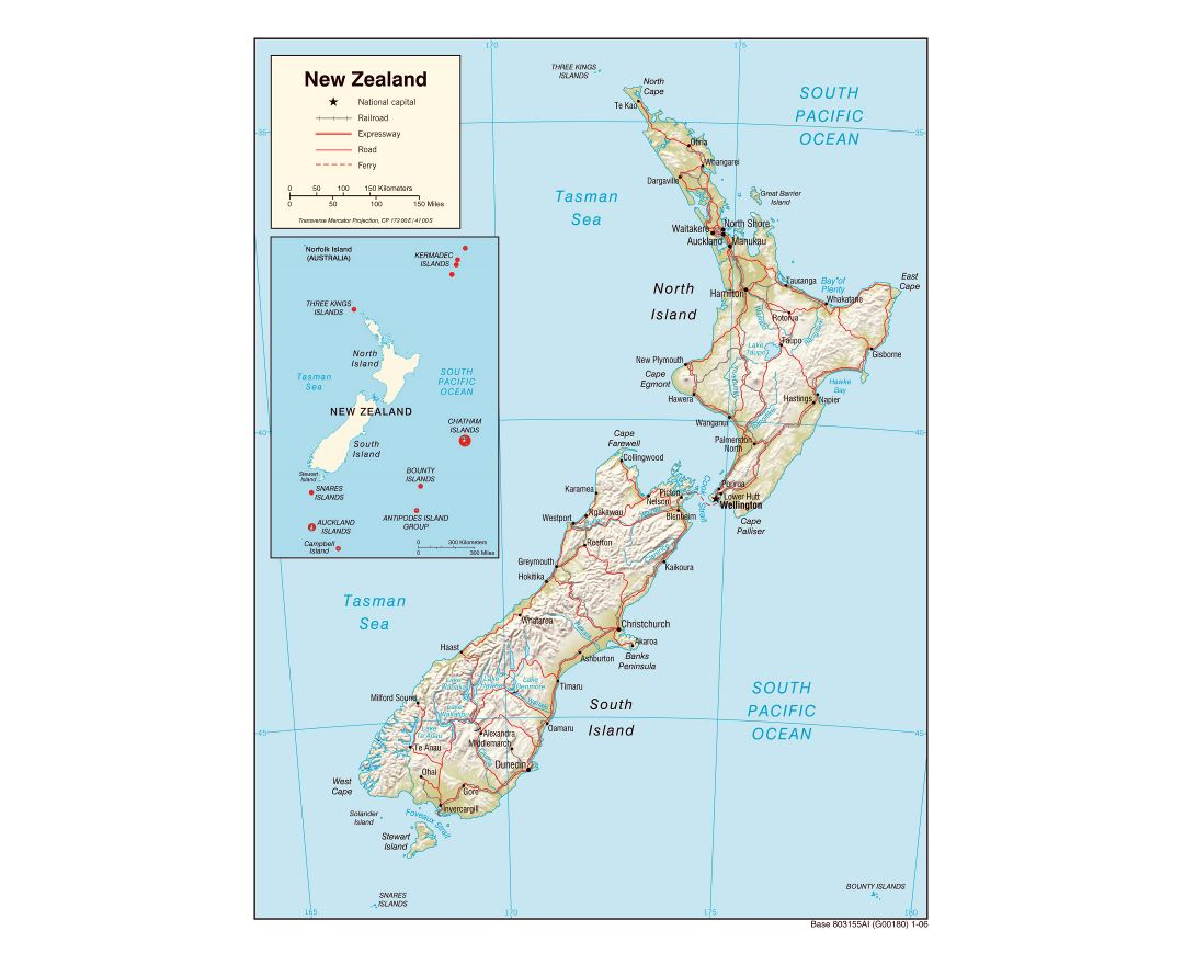 Large political map of New Zealand with relief, roads, railroads and cities - 2006