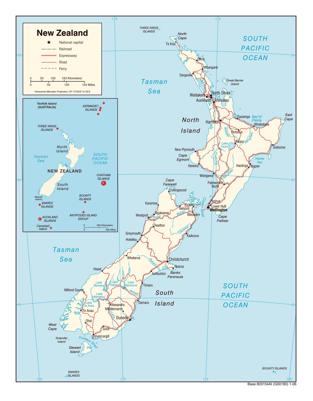 Large political map of New Zealand with roads, railroads and cities - 2006