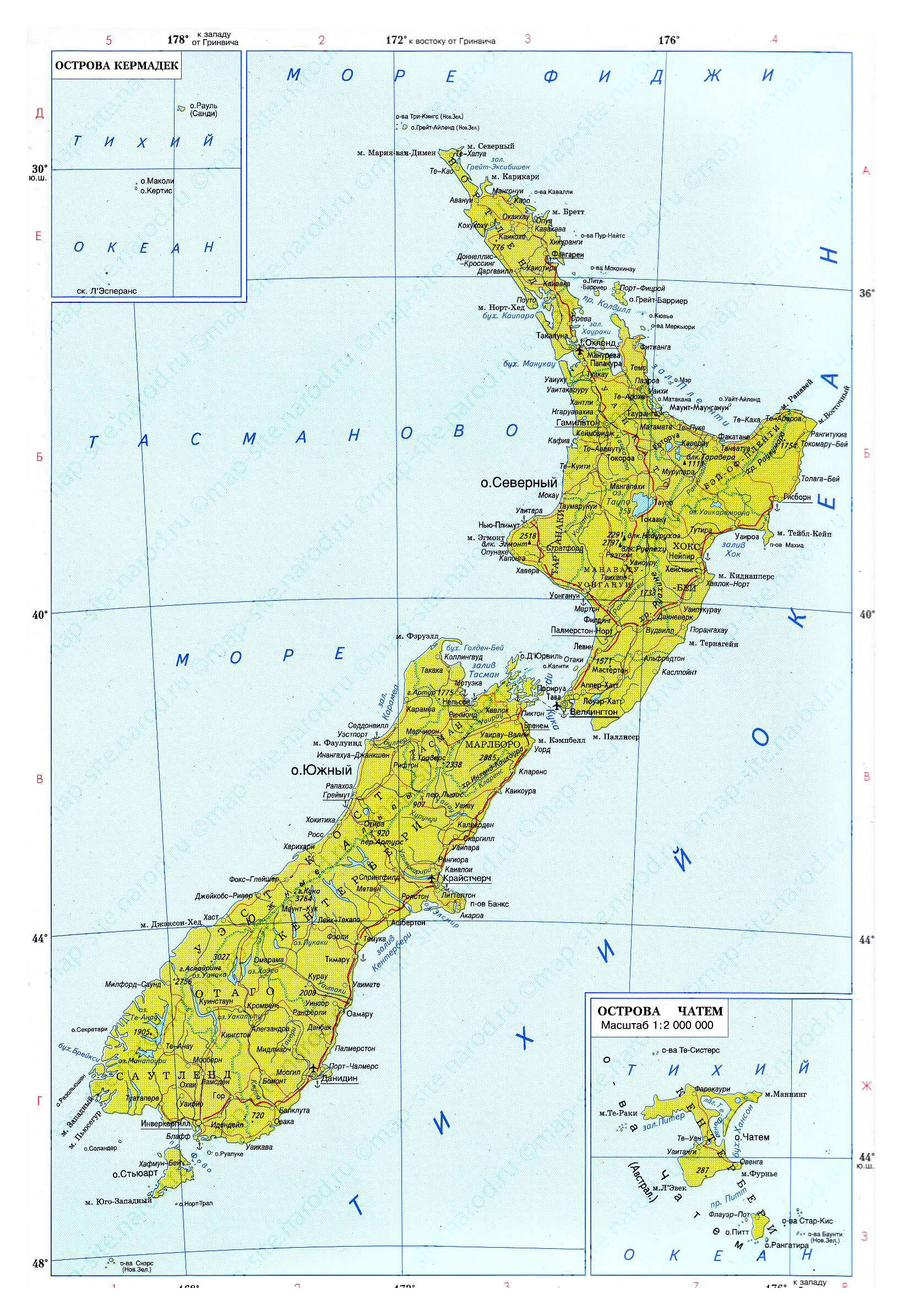 Large political map of New Zealand with roads, rivers and cities in ...