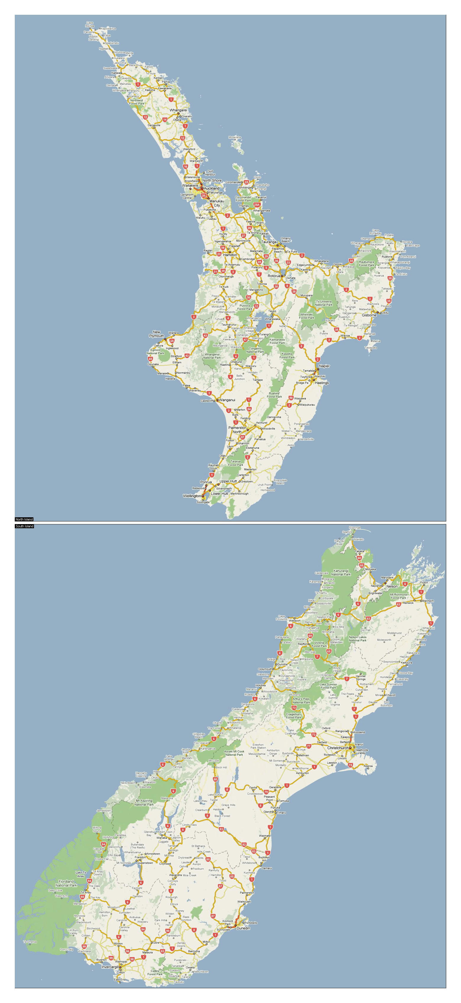 New Zealand Road Map.Large Road Map Of New Zealand With National Parks And Cities New
