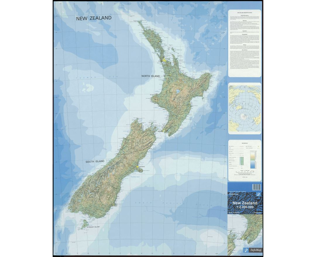 Large scale map of New Zealand with relief, marks of all cities, roads and other marks