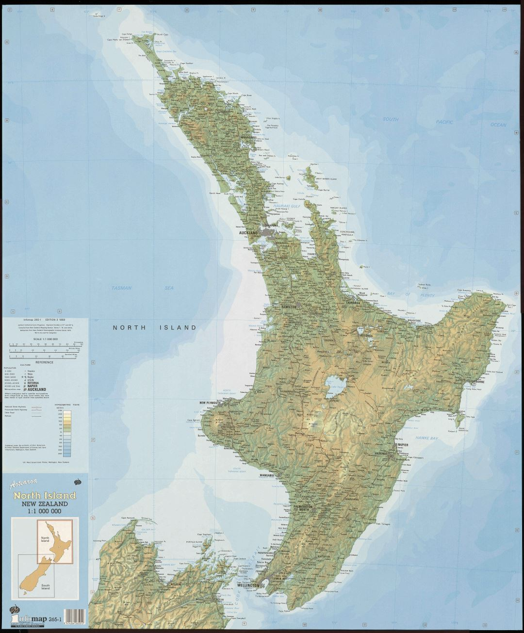 Large scale map of North Island, New Zealand with relief, marks of all cities, roads, railroads and other marks