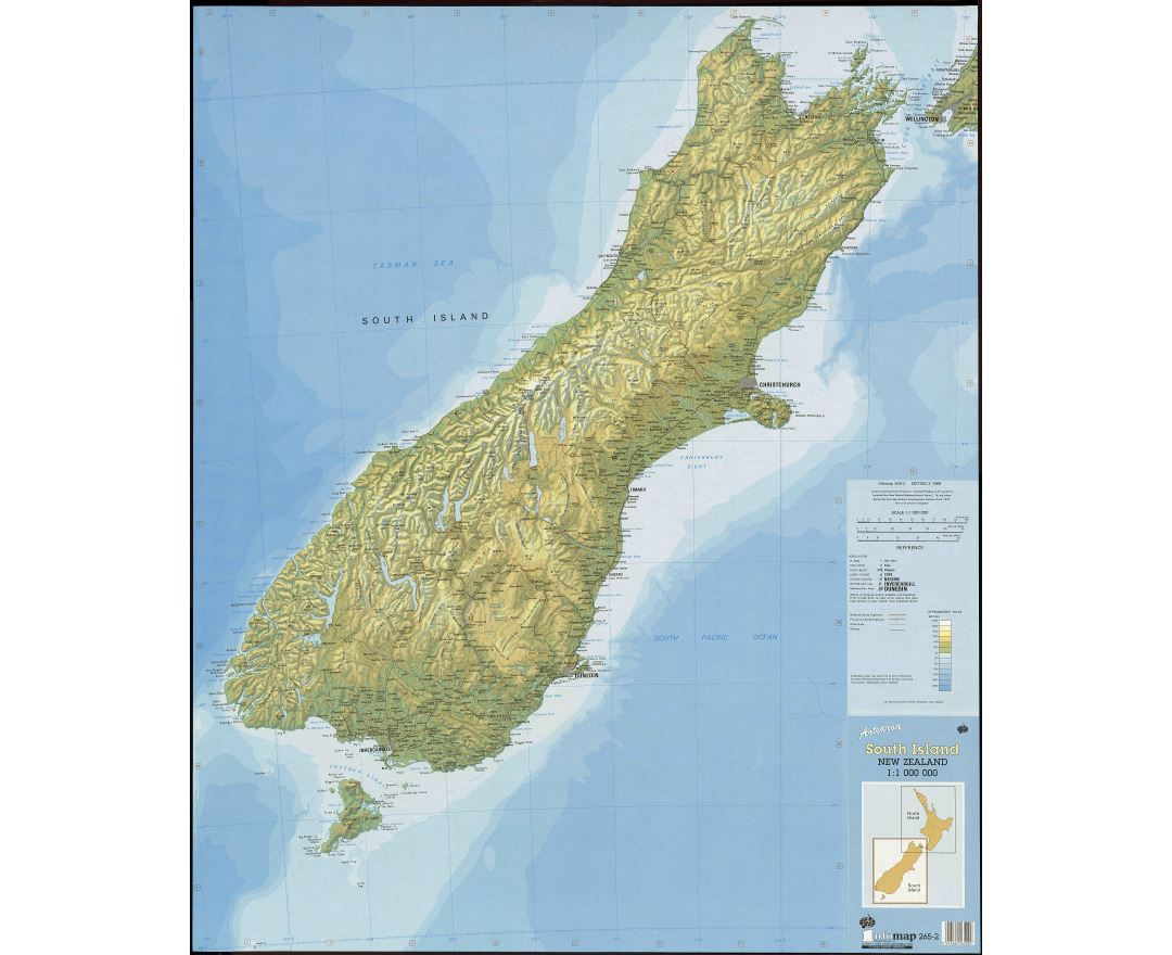 Large scale map of South Island, New Zealand with relief, marks of all cities, roads, railroads and other marks