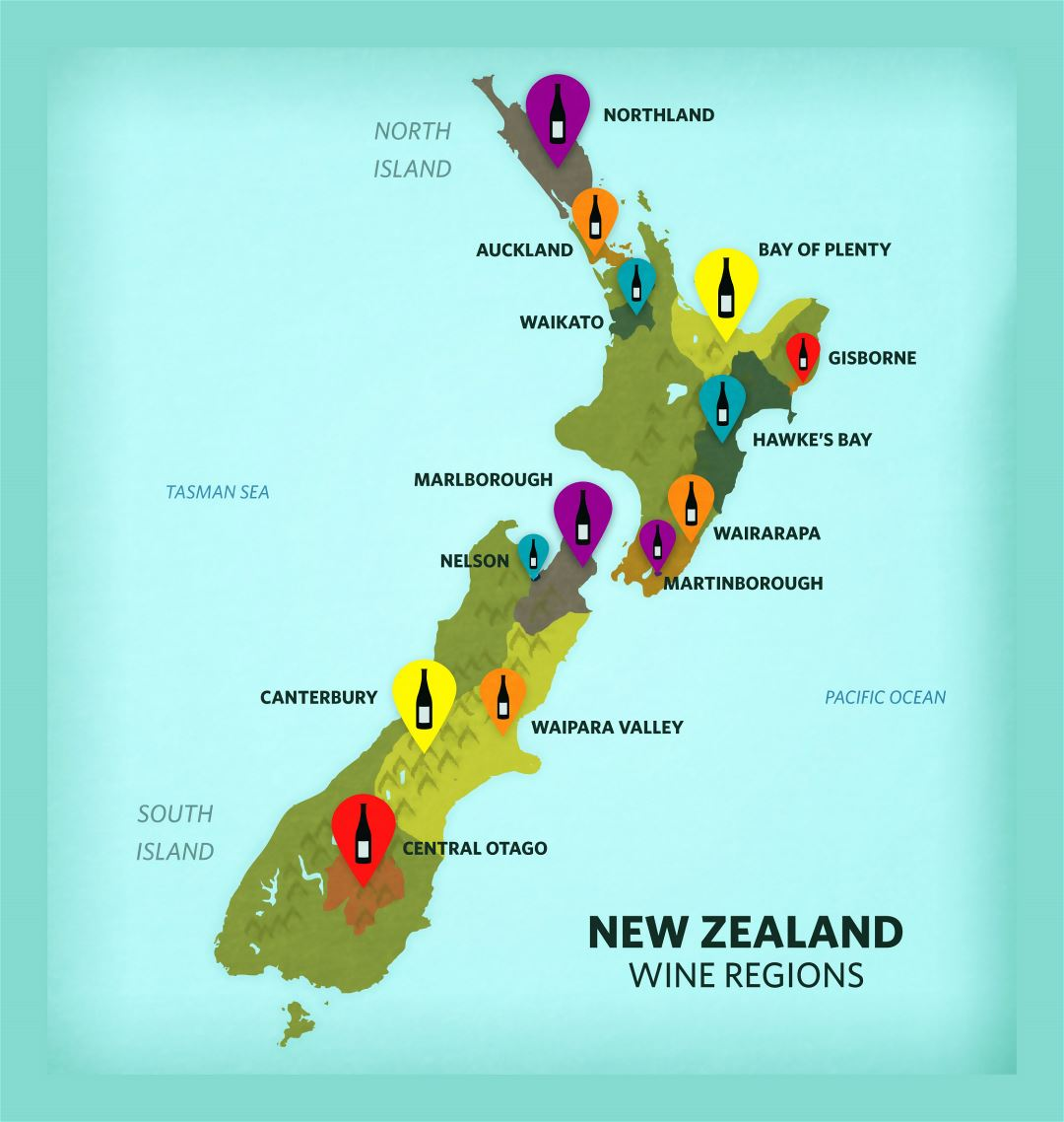 Large wine regions map of New Zealand