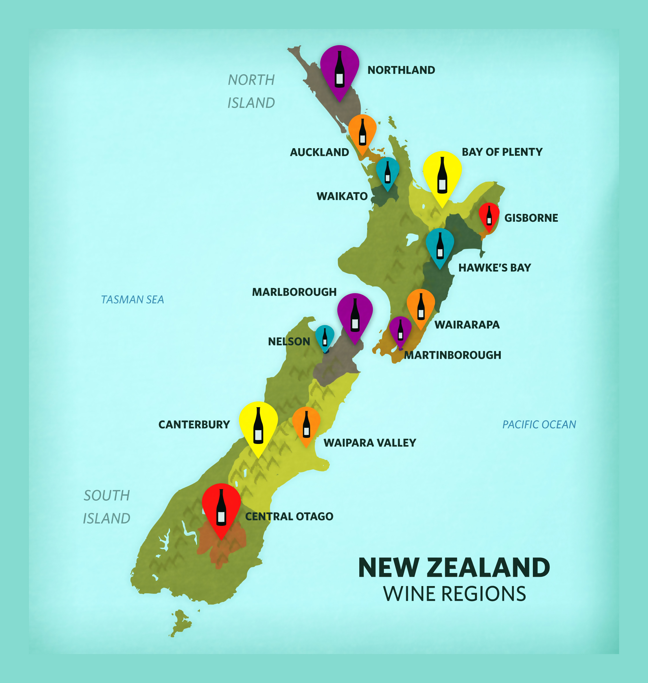 Large wine regions map of New Zealand New Zealand Oceania