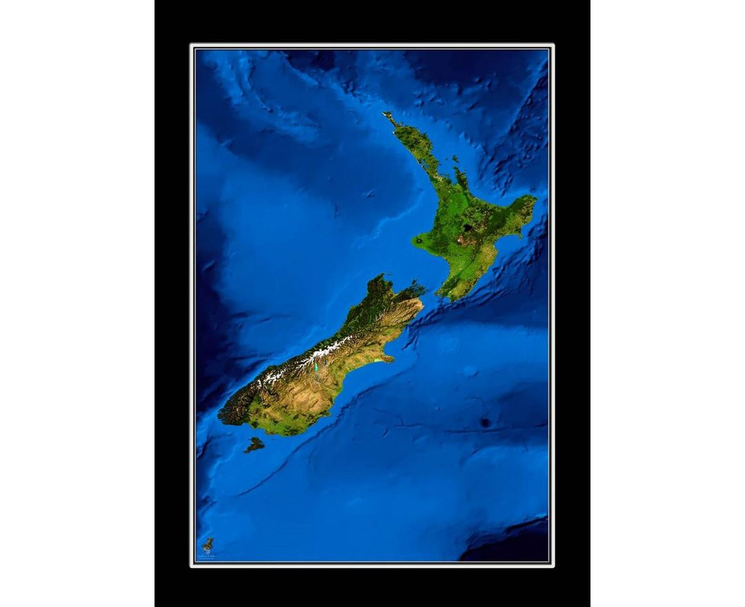 Satellite map of New Zealand