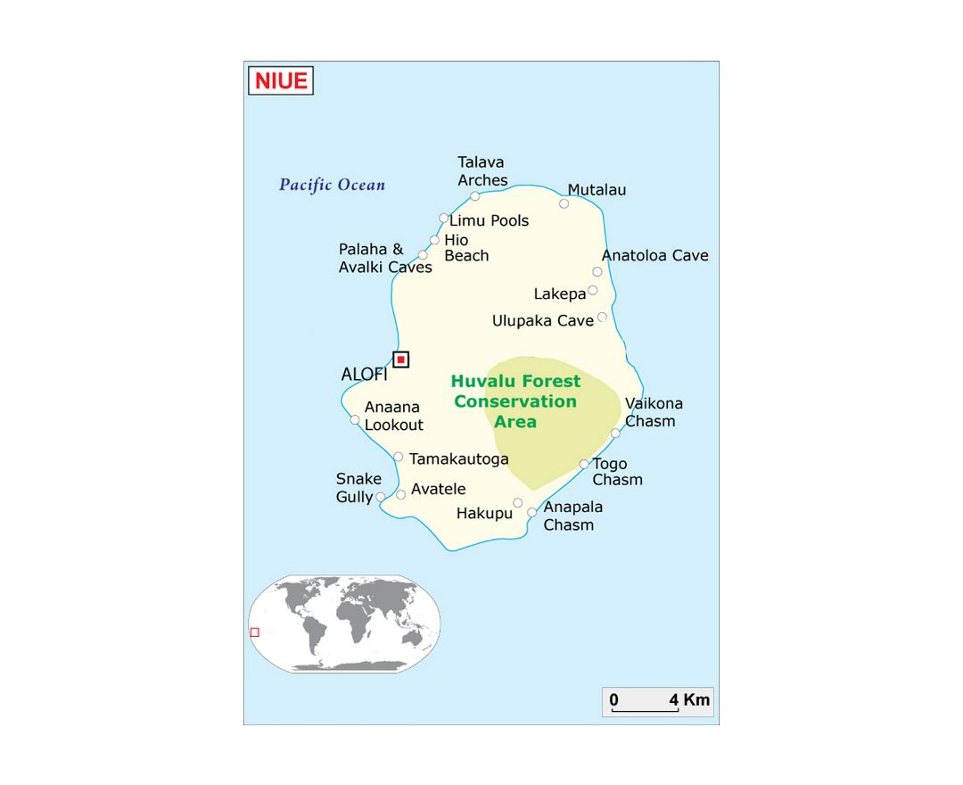 Maps of Niue Detailed map of Niue in English Tourist map travel