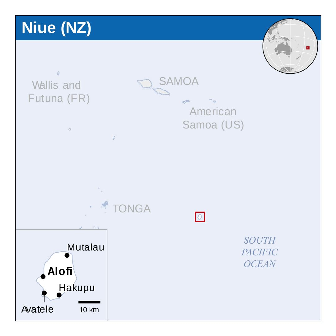 Large location map of Niue