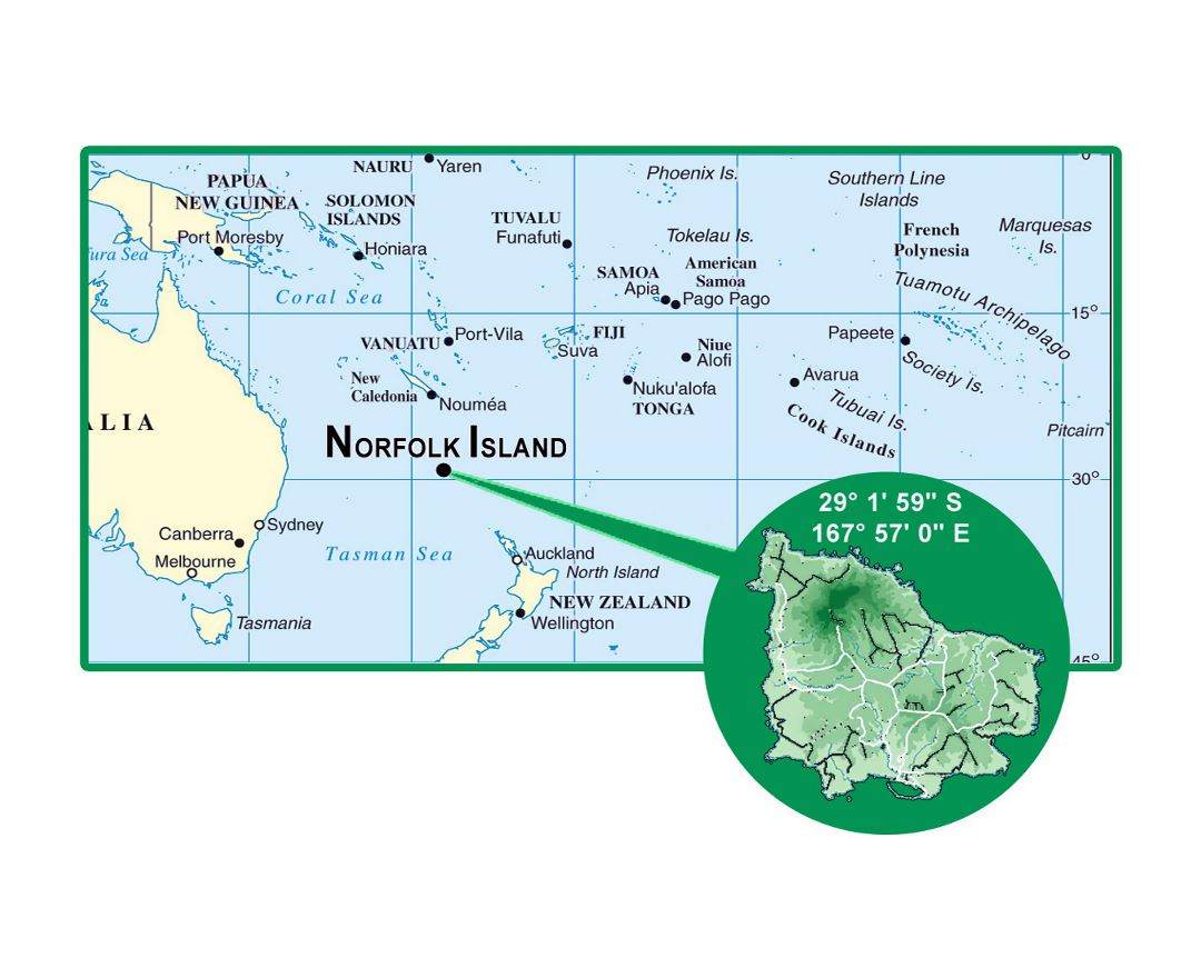Detailed location map of Norfolk Island