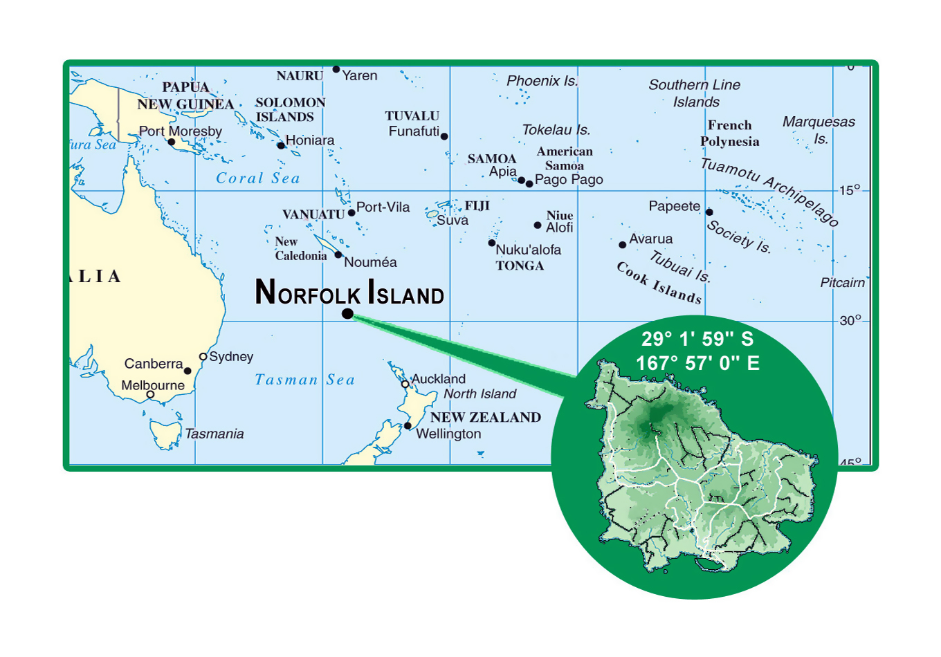Detailed location map of Norfolk Island Norfolk Island Oceania