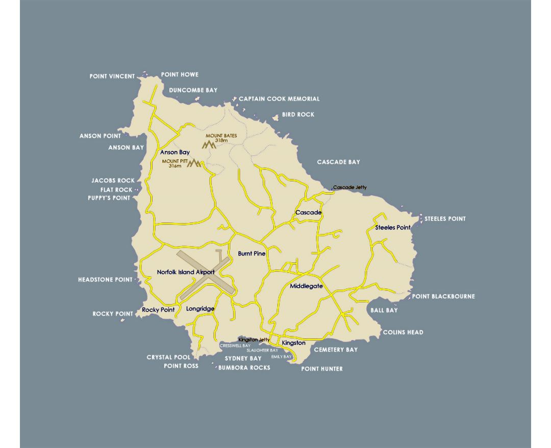Detailed road map of Norfolk Island