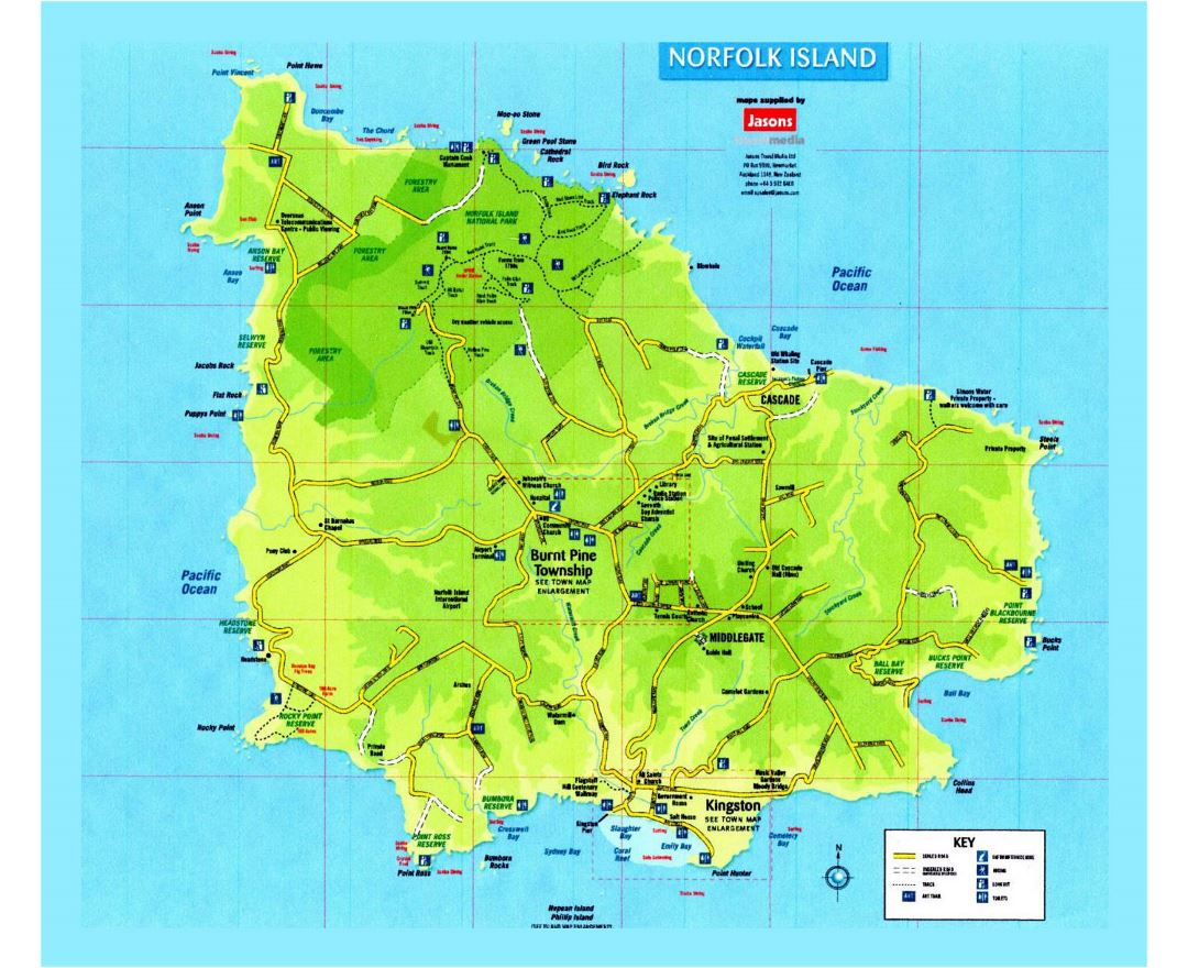 Detailed travel map of Norfolk Island with roads and marks