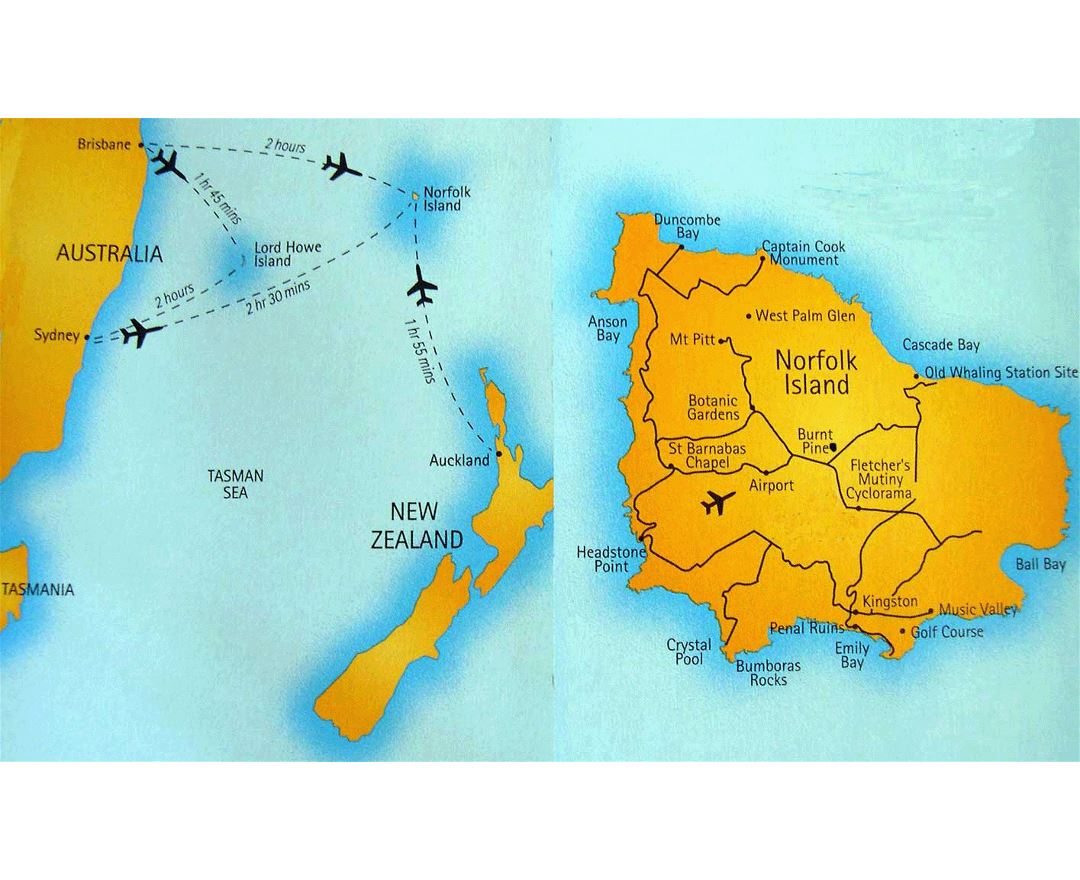 Large flight paths map of Norfolk Island with roads and airport