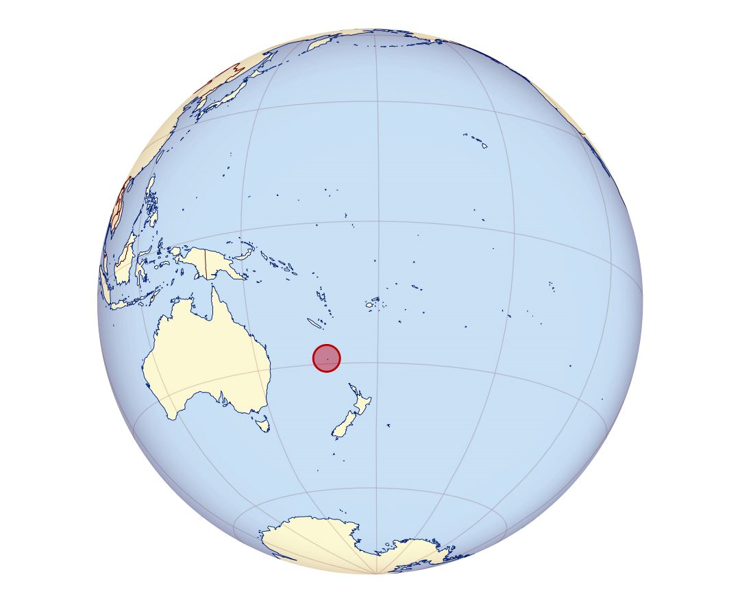 Large location map of Norfolk Island in Oceania