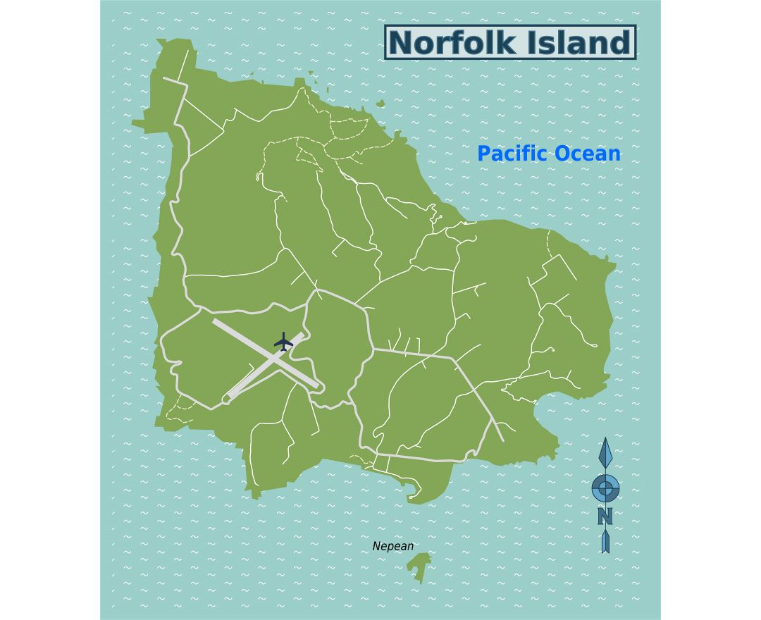 Large map of Norfolk Island with roads and airport