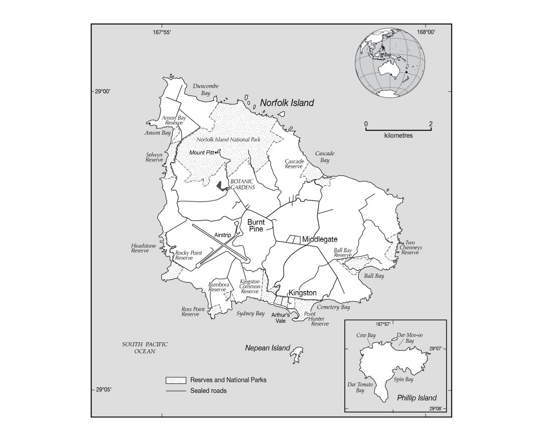 Large political map of Norfolk Island with marks