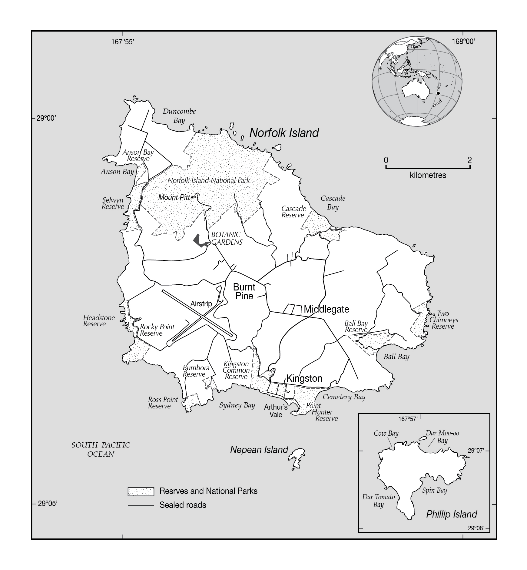 Large political map of Norfolk Island with marks Norfolk Island