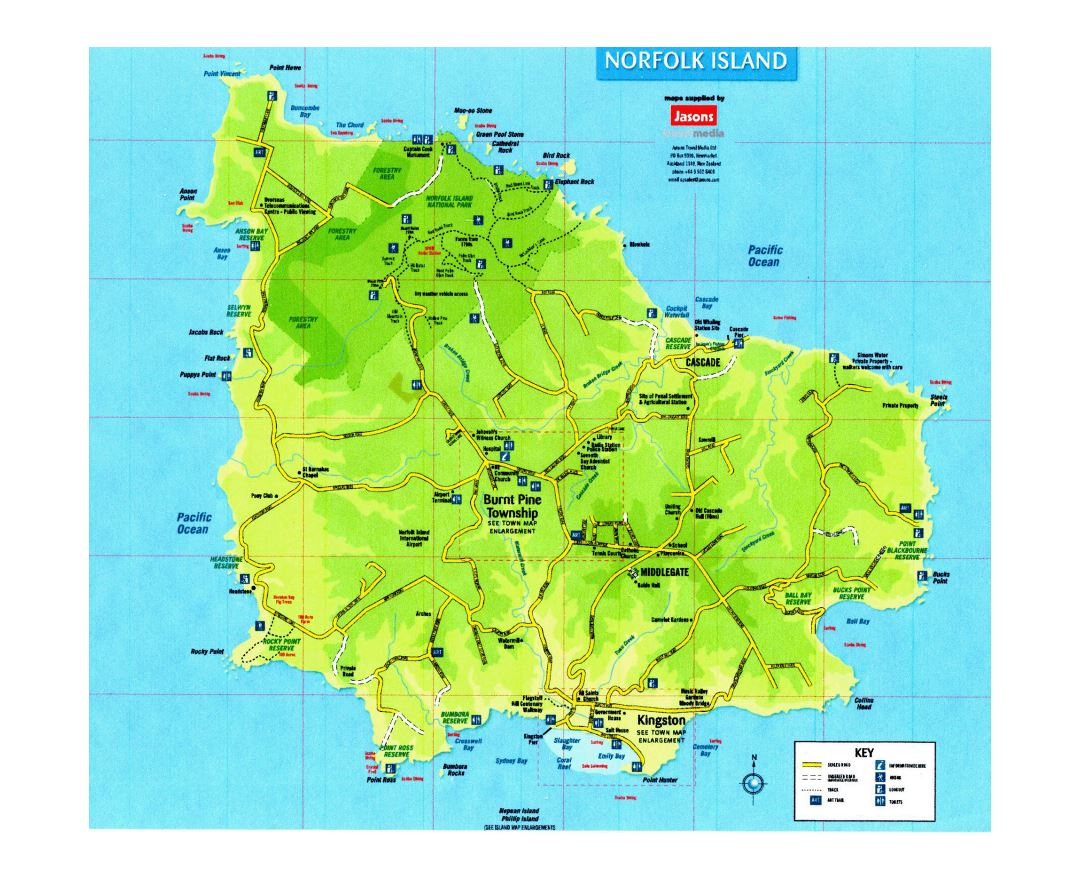 Large tourist map of Norfolk Island