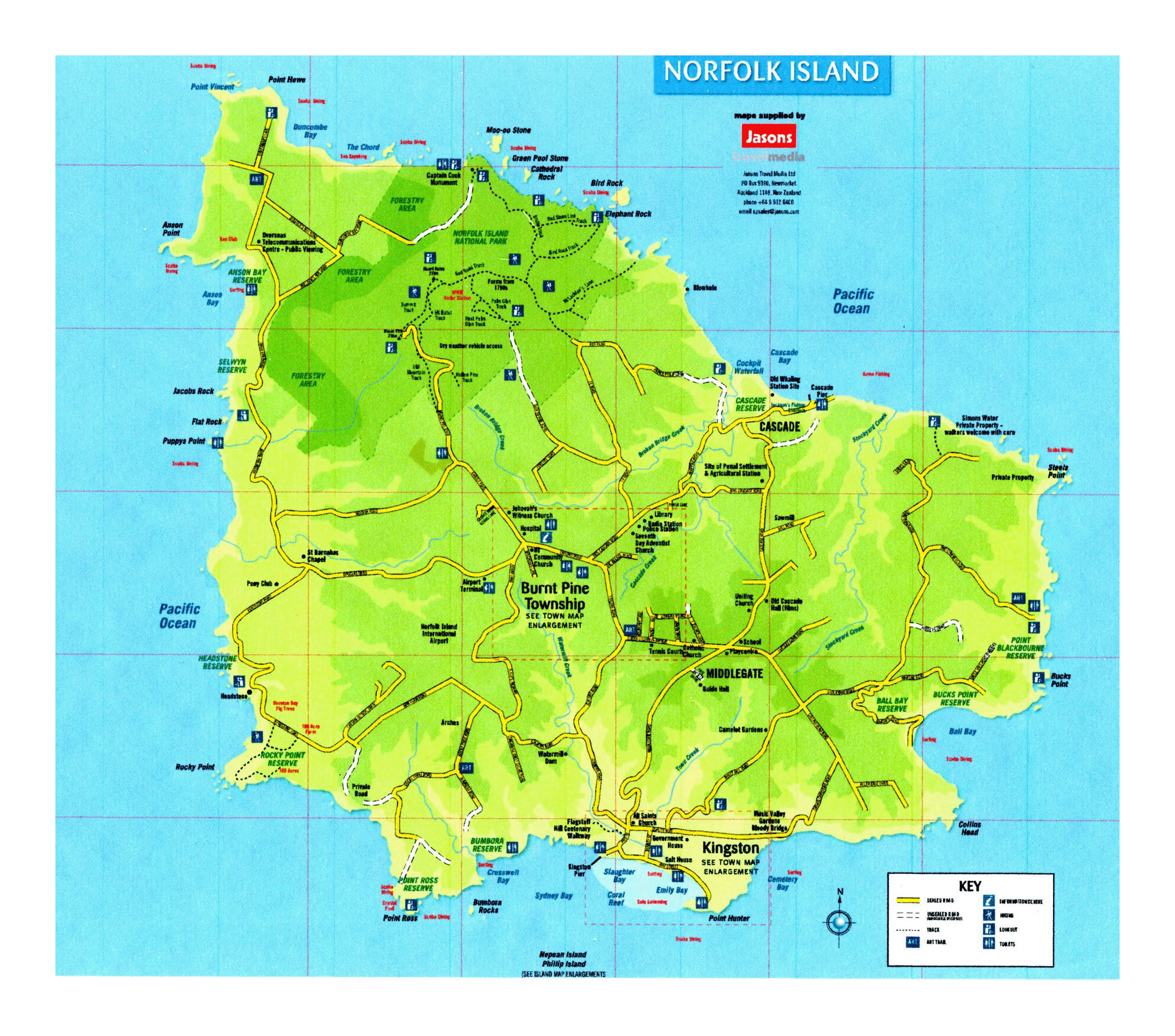 Large tourist map of Norfolk Island Norfolk Island Oceania