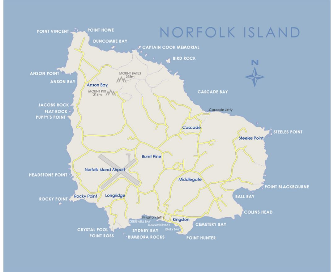 Map of Norfolk Island with roads