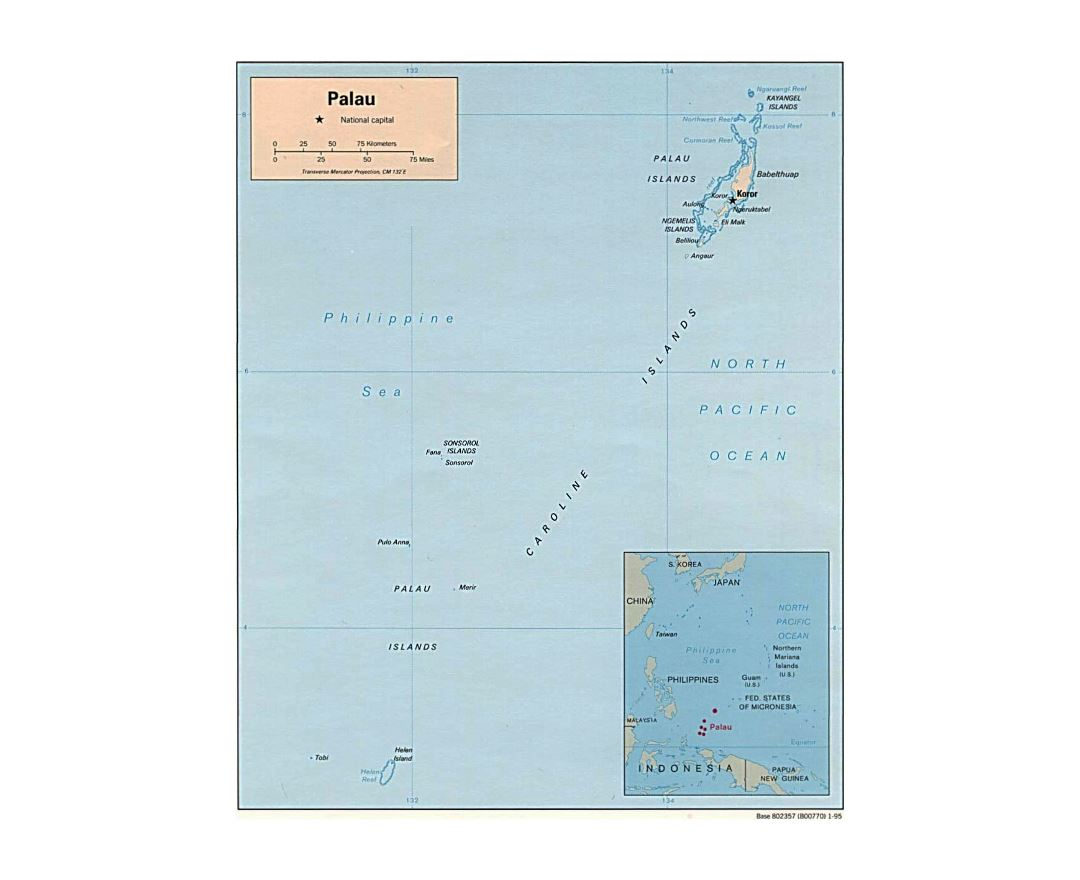 Detailed political map of Palau - 1995