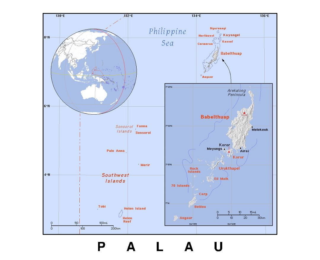 Detailed political map of Palau with relief