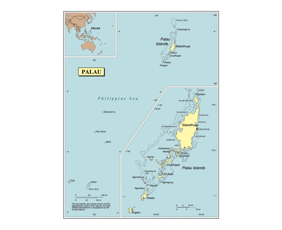Large detailed political map of Palau with cities and airports