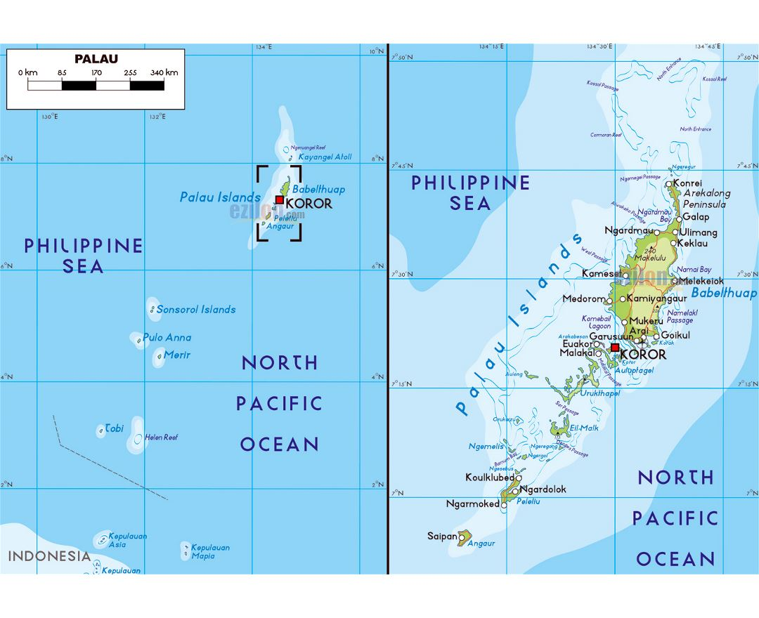 Large physical map of Palau with roads, cities and airports