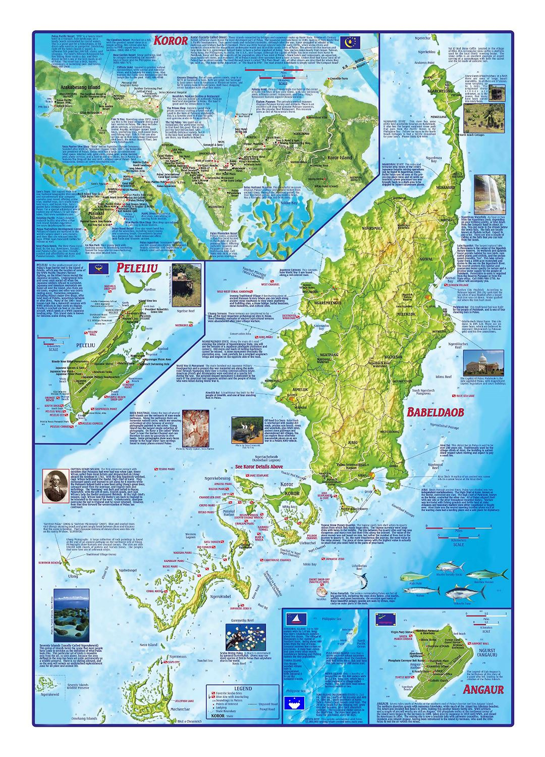 Large tourist map of Palau with relief and other marks
