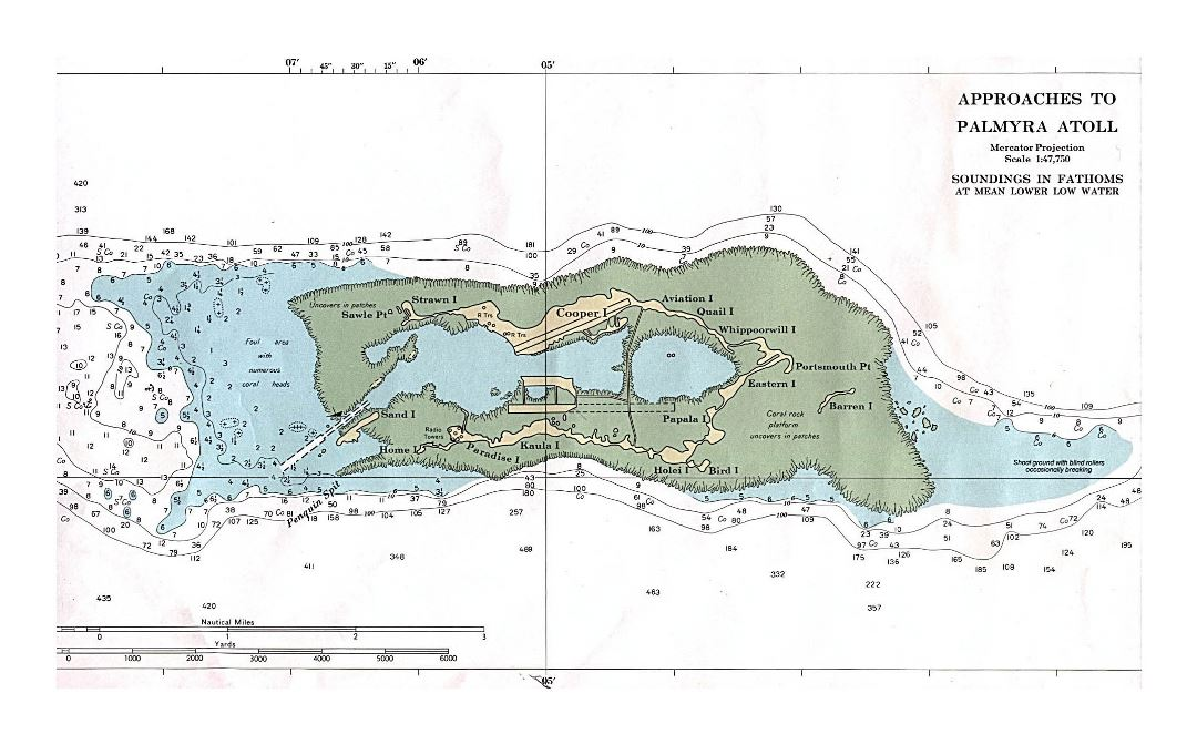 Detailed topographical map of Palmyra Atoll