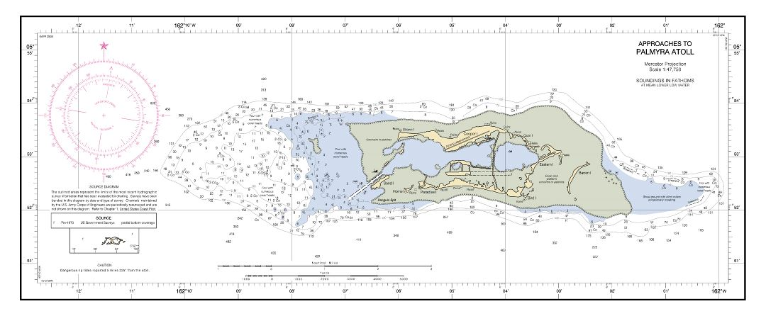 Large detailed topographical map of Palmyra Atoll