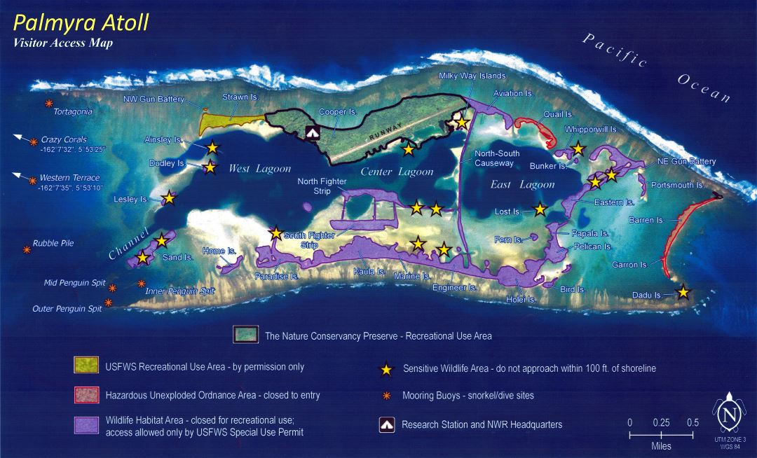 Large scale Visitor Access map of Palmyra Atoll