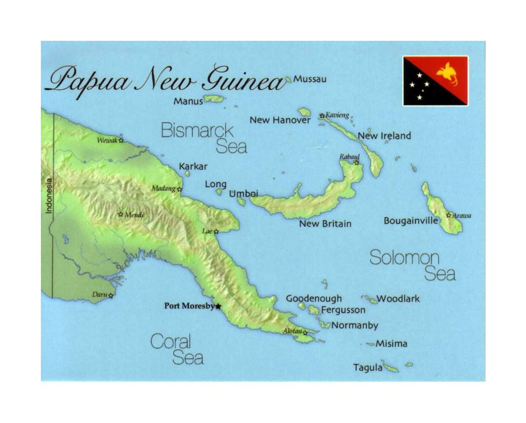 Detailed map of Papua New Guinea with flag