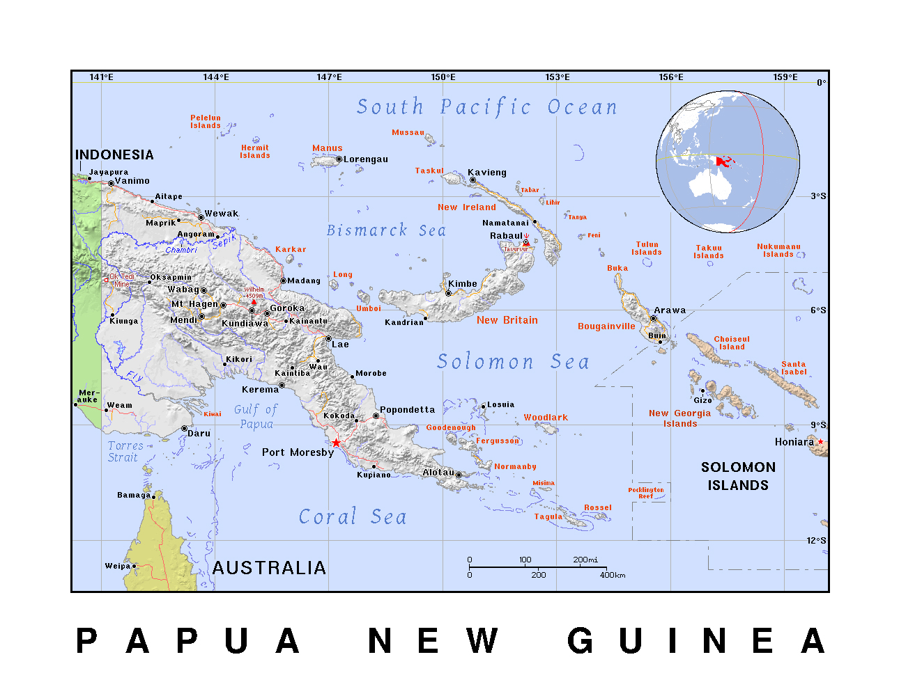Detailed political map of papua new guinea with relief papua new detailed political map of papua new guinea with relief gumiabroncs Choice Image